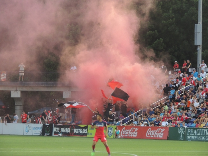 Atlanta Ultras, an Atlanta Silverbacks fan crew celebrating the goal